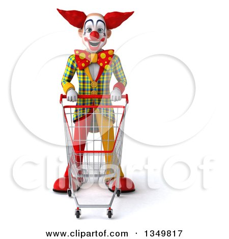 Clipart of a 3d Funky Clown Standing with a Shopping Cart - Royalty Free Illustration by Julos