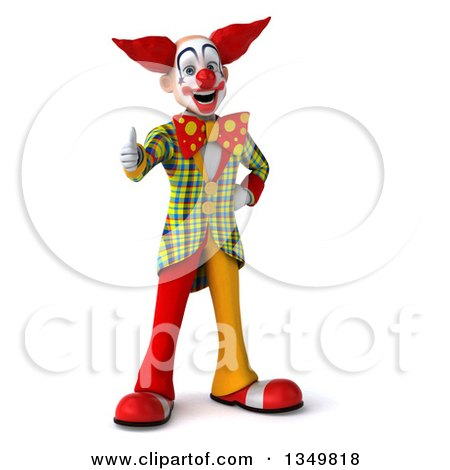 Clipart of a 3d Funky Clown Giving a Thumb up - Royalty Free Illustration by Julos