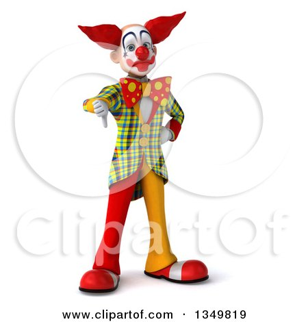 Clipart of a 3d Funky Clown Giving a Thumb down - Royalty Free Illustration by Julos