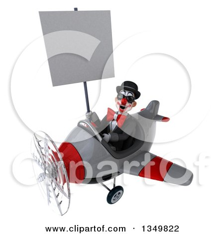 Clipart of a 3d White and Black Clown Aviator Pilot Wearing Sunglasses, Holding a Blank Sign and Flying a Yellow Airplane to the Left - Royalty Free Illustration by Julos