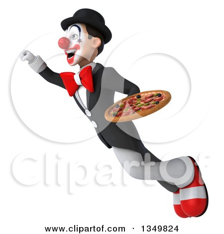 Clipart of a 3d White and Black Clown Holding a Pizza and Flying - Royalty Free Illustration by Julos