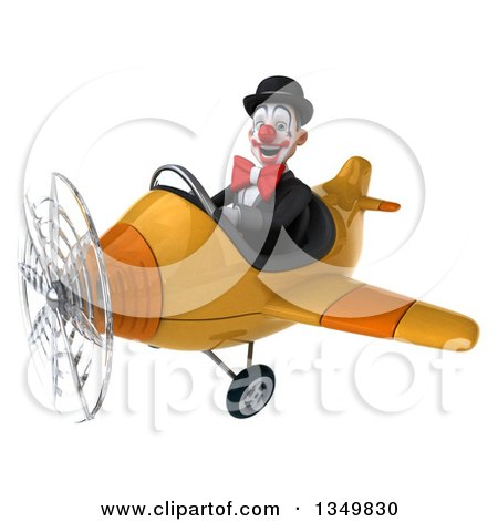 Clipart of a 3d White and Black Clown Aviator Pilot Flying a Yellow Airplane to the Left - Royalty Free Illustration by Julos