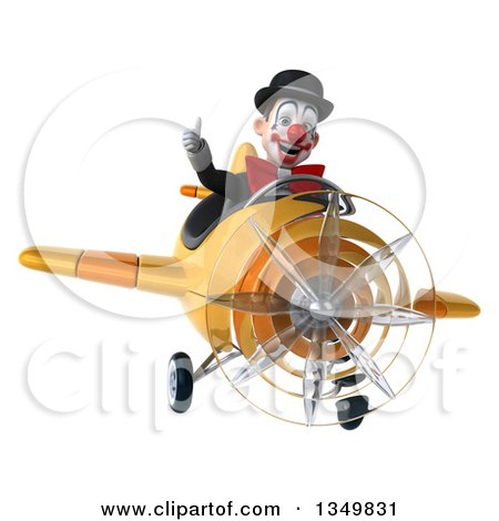Clipart of a 3d White and Black Clown Aviator Pilot Giving a Thumb up and Flying a Yellow Airplane - Royalty Free Illustration by Julos
