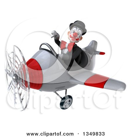 Clipart of a 3d White and Black Clown Aviator Pilot Giving a Thumb down and Flying a White and Red Airplane to the Left - Royalty Free Illustration by Julos