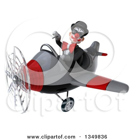Clipart of a 3d White and Black Clown Aviator Pilot Wearing Sunglasses, Giving a Thumb down and Flying a Yellow Airplane to the Left - Royalty Free Illustration by Julos