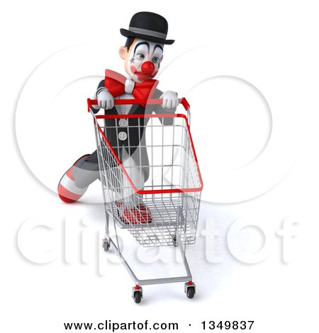 Clipart of a 3d White and Black Clown Struggling with a Shopping Cart - Royalty Free Illustration by Julos