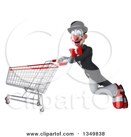 Clipart of a 3d White and Black Clown Flying with a Shopping Cart - Royalty Free Illustration by Julos