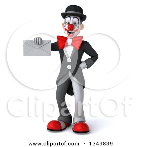 Clipart of a 3d White and Black Clown Holding an Envelope - Royalty Free Illustration by Julos