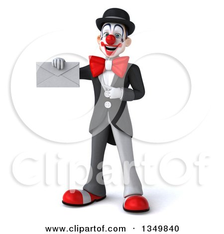 Clipart of a 3d White and Black Clown Holding and Pointing to an Envelope - Royalty Free Illustration by Julos