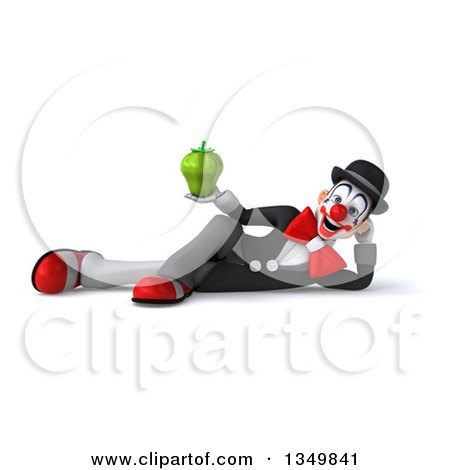 Clipart of a 3d White and Black Clown Holding a Green Bell Pepper and Resting on His Side - Royalty Free Illustration by Julos