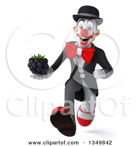 Clipart of a 3d White and Black Clown Holding a Blackberry and Sprinting - Royalty Free Illustration by Julos