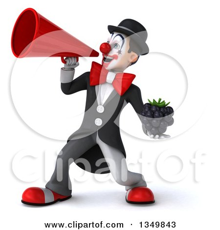 Clipart of a 3d White and Black Clown Holding a Blackberry and Using a Megaphone - Royalty Free Illustration by Julos