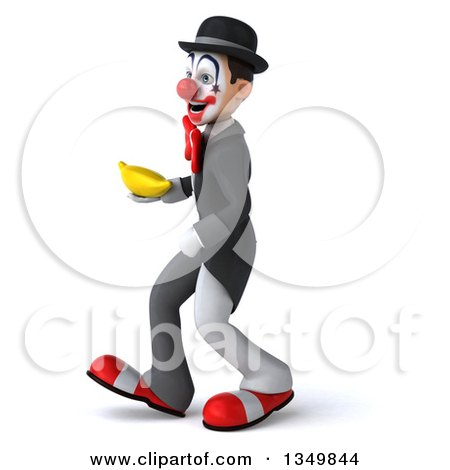 Clipart of a 3d White and Black Clown Holding a Banana and Walking to the Left - Royalty Free Illustration by Julos