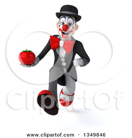 Clipart of a 3d White and Black Clown Holding a Tomato and Sprinting - Royalty Free Illustration by Julos