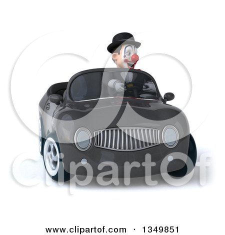 Clipart of a 3d White and Black Clown Driving a Gray Convertible Car - Royalty Free Illustration by Julos