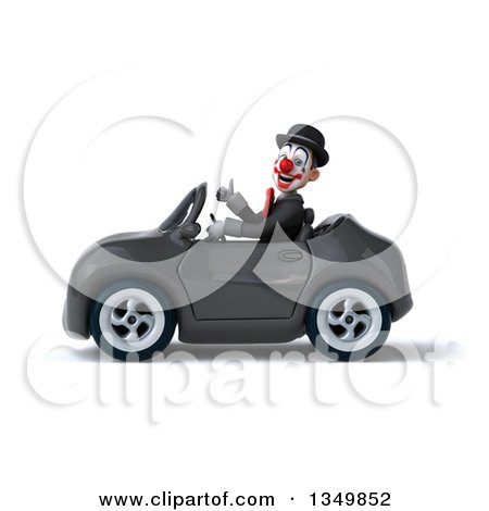 Clipart of a 3d White and Black Clown Giving a Thumb up and Driving a Gray Convertible Car to the Left - Royalty Free Illustration by Julos