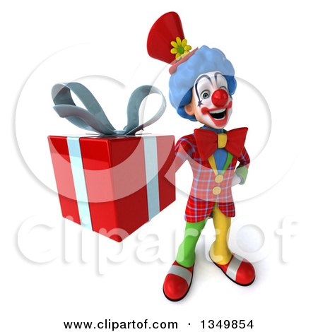 Clipart of a 3d Colorful Clown Holding up a Gift - Royalty Free Illustration by Julos