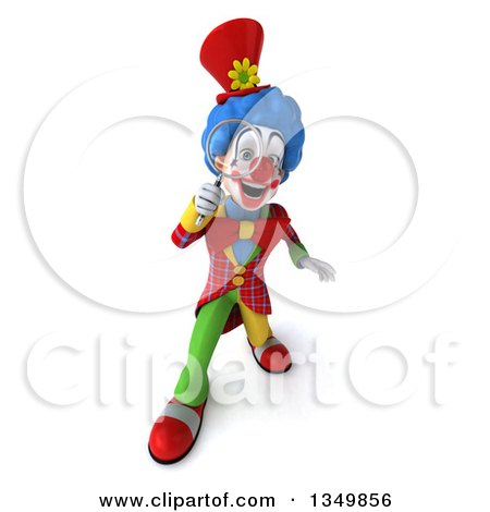 Clipart of a 3d Colorful Clown Looking up and Searching with a Magnifying Glass - Royalty Free Illustration by Julos