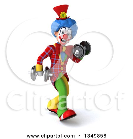 Clipart of a 3d Colorful Clown Walking and Doing Bicep Curls with Dumbbells - Royalty Free Illustration by Julos