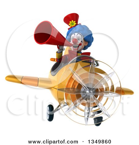 Clipart of a 3d Colorful Clown Aviator Pilot Using a Megaphone and Flying a Yellow Airplane - Royalty Free Illustration by Julos