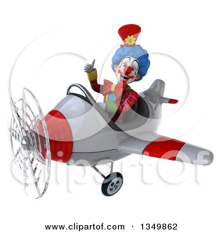 Clipart of a 3d Colorful Clown Aviator Pilot Giving a Thumb up and Flying a White and Red Airplane to the Left - Royalty Free Illustration by Julos