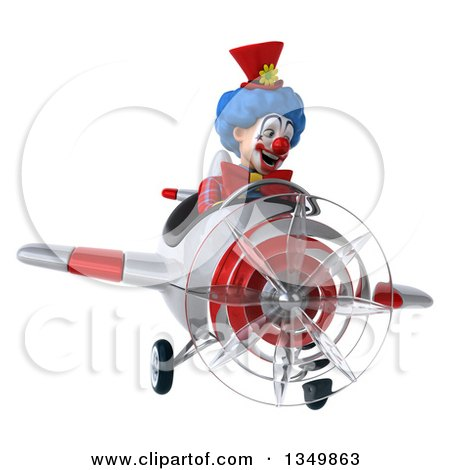 Clipart of a 3d Colorful Clown Aviator Pilot Flying a White and Red Airplane - Royalty Free Illustration by Julos
