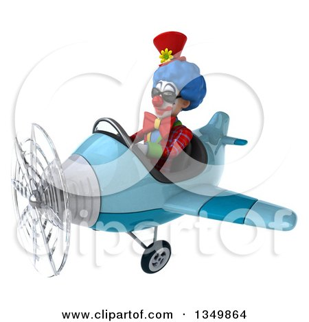 Clipart of a 3d Colorful Clown Aviator Pilot Wearing Sunglasses and Flying a Blue Airplane to the Left - Royalty Free Illustration by Julos