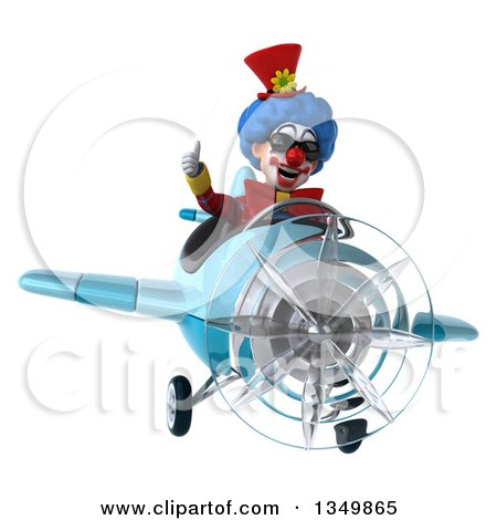 Clipart of a 3d Colorful Clown Aviator Pilot Wearing Sunglasses, Giving a Thumb up and Flying a Blue Airplane - Royalty Free Illustration by Julos