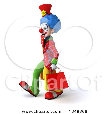 Clipart of a 3d Colorful Clown Carrying Shopping Bags and Walking to the Left - Royalty Free Illustration by Julos