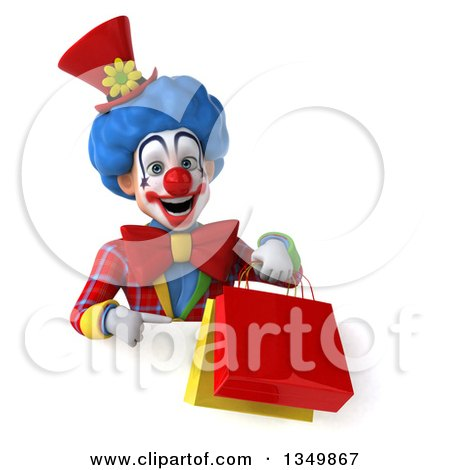 Clipart of a 3d Colorful Clown Holding and Pointing to Shopping Bags over a Sign - Royalty Free Illustration by Julos