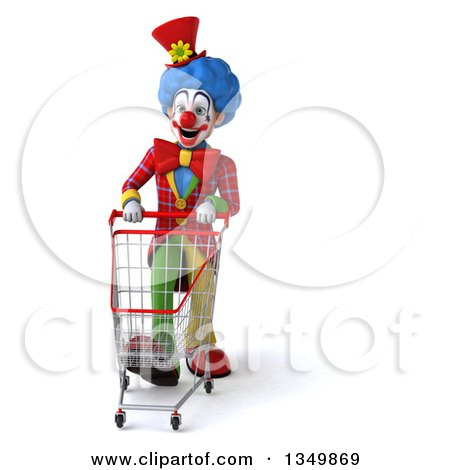 Clipart of a 3d Colorful Clown Pushing a Shopping Cart - Royalty Free Illustration by Julos