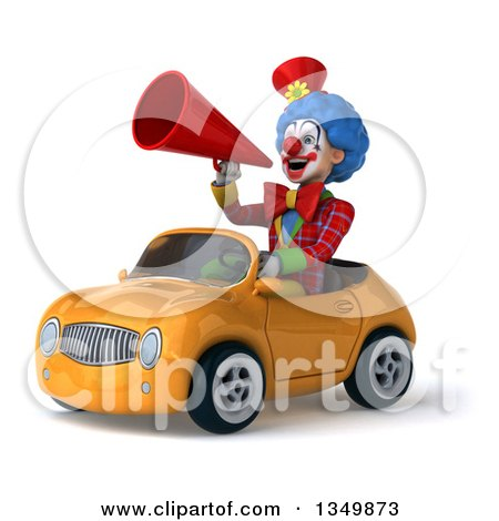 Clipart of a 3d Colorful Clown Using a Megaphone and Driving an Orange Convertible Car to the Left - Royalty Free Illustration by Julos