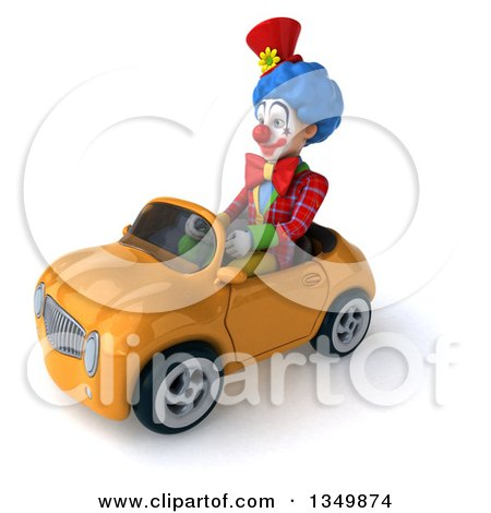 Clipart of a 3d Colorful Clown Driving an Orange Convertible Car to the Left - Royalty Free Illustration by Julos