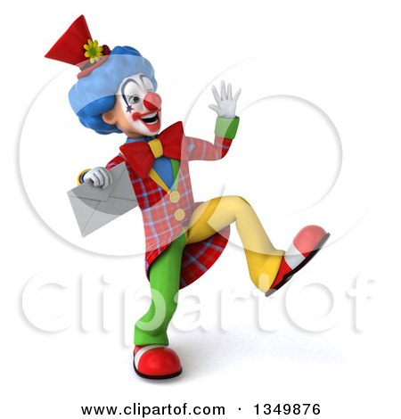 Clipart of a 3d Colorful Clown Dancing and Holding an Envelope - Royalty Free Illustration by Julos