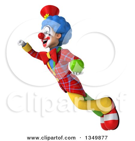 Clipart of a 3d Colorful Clown Holding a Green Apple and Flying - Royalty Free Illustration by Julos