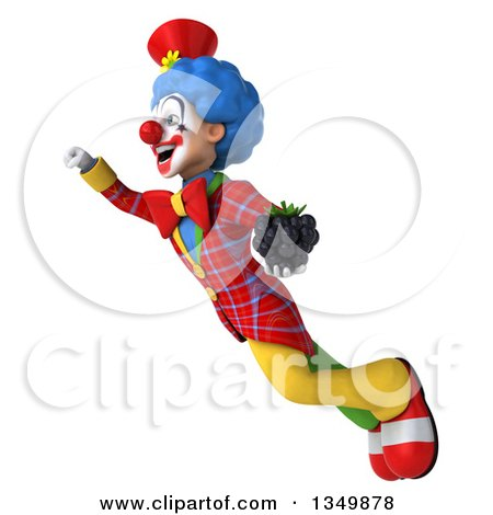 Clipart of a 3d Colorful Clown Holding a Blackberry and Flying - Royalty Free Illustration by Julos