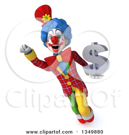 Clipart of a 3d Colorful Clown Flying and Holding a Dollar Currency Symbol - Royalty Free Illustration by Julos