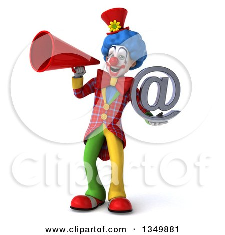 Clipart of a 3d Colorful Clown Holding an Email Arobase at Symbol and Using a Megaphone - Royalty Free Illustration by Julos