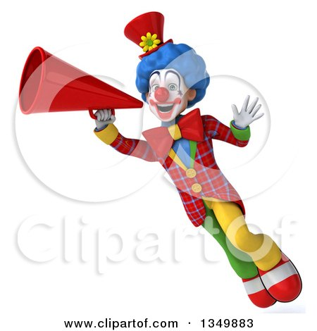 Clipart of a 3d Colorful Clown Waving, Flying and Using a Megaphone - Royalty Free Illustration by Julos