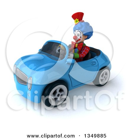 Clipart of a 3d Colorful Clown Driving a Blue Convertible Car to the Left - Royalty Free Illustration by Julos
