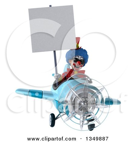 Clipart of a 3d Colorful Clown Aviator Pilot Wearing Sunglasses, Holding a Blank Sign and Flying a Blue Airplane - Royalty Free Illustration by Julos