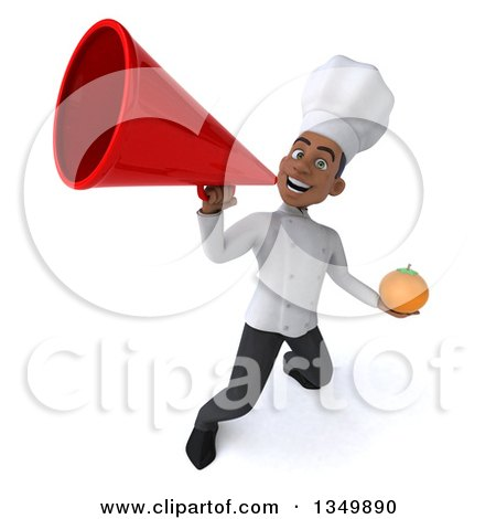 Clipart of a 3d Young Black Male Chef Holding a Navel Orange and Using a Megaphone - Royalty Free Illustration by Julos