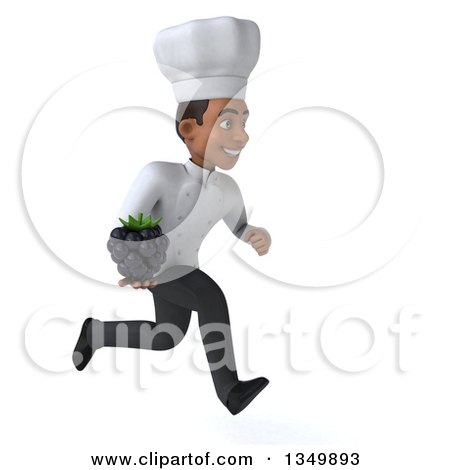 Clipart of a 3d Young Black Male Chef Holding a Blackberry and Sprinting to the Right - Royalty Free Illustration by Julos