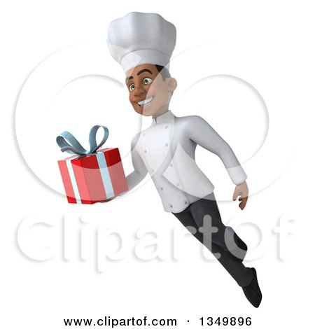 Clipart of a 3d Young Black Male Chef Holding a Gift and Flying - Royalty Free Illustration by Julos