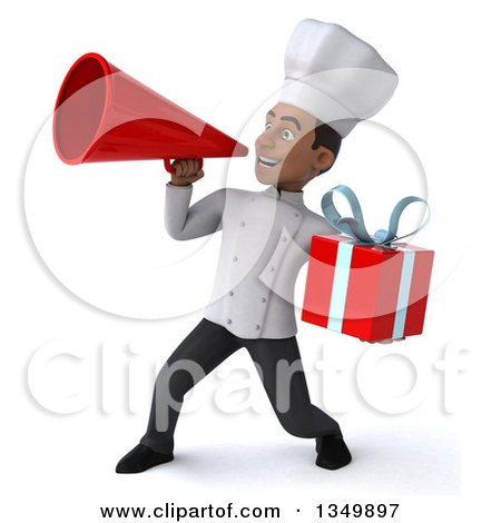 Clipart of a 3d Young Black Male Chef Holding a Gift and Using a Megaphone - Royalty Free Illustration by Julos