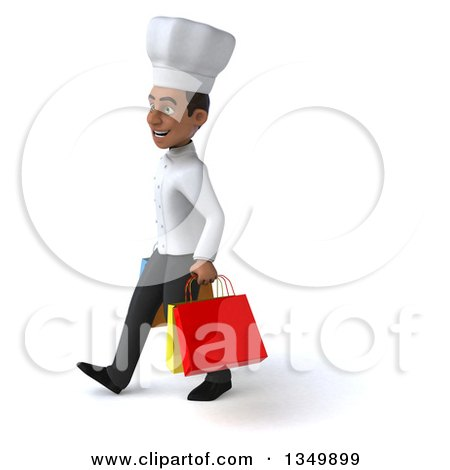 Clipart of a 3d Young Black Male Chef Walking to the Left and Carrying Shopping Bags - Royalty Free Illustration by Julos