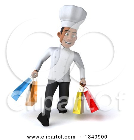 Clipart of a 3d Young Black Male Chef Walking and Carrying Shopping Bags - Royalty Free Illustration by Julos