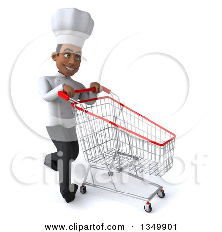 Clipart of a 3d Young Black Male Chef Walking to the Right with a Shopping Cart - Royalty Free Illustration by Julos