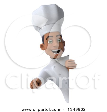 Clipart of a 3d Young Black Male Chef Pointing Outwards Around a Sign - Royalty Free Illustration by Julos