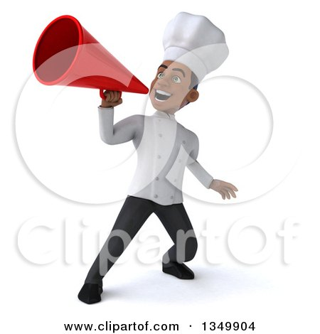 Clipart of a 3d Young Black Male Chef Using a Megaphone - Royalty Free Illustration by Julos